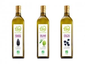 Huiles vierges biologiques en bouteille